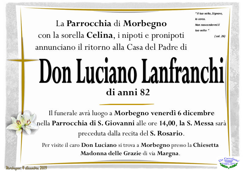 necrologio Don Luciano Lanfranchi