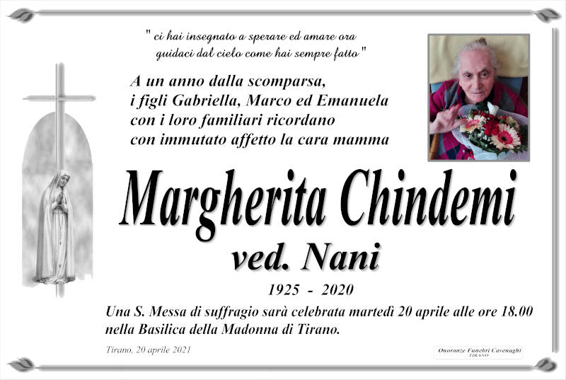 Chindemi Margherita necrologio
