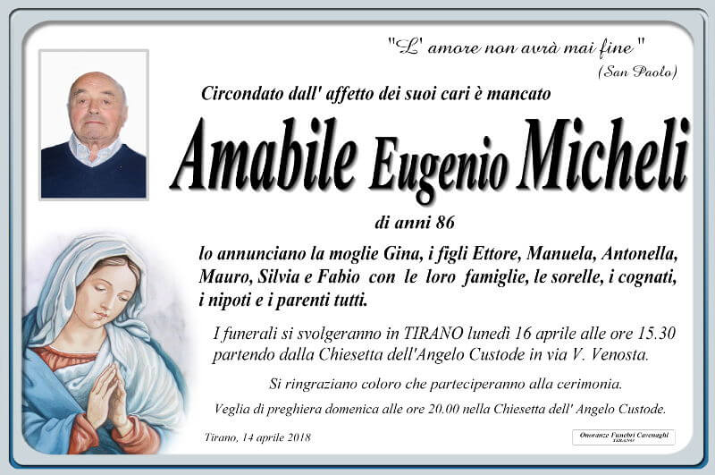 necrologio Micheli Amabile Eugenio